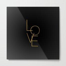 LOVE / black and gold Metal Print