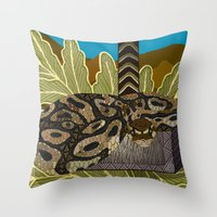 monty python Throw Pillows featuring Python - Thor by ArtLovePassion
