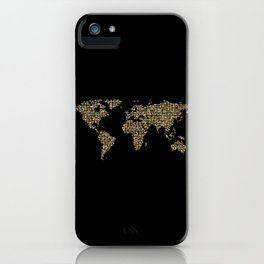 Golden Dots World Map iPhone Case