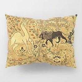 Antique Persian Tabriz Animal Rug Print Pillow Sham