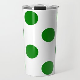 Large Polka Dots - Green on White Travel Mug