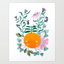 orange with flowers, mushrooms & leaves watercolor illustration Art Print