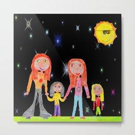 Space Hippie Girls   Kids Painting Metal Print
