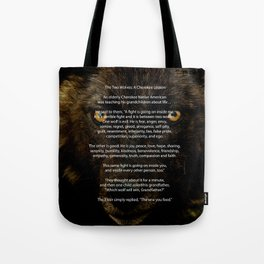 The TWO WOLVES CHEROKEE TALE Tote Bag