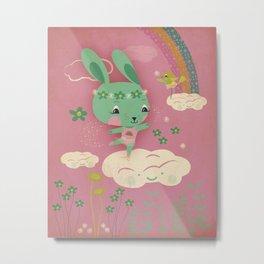 Cloud Dancing Bunny Metal Print