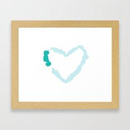 Two Tone Turquoise Broken Heart Series Framed Art Print