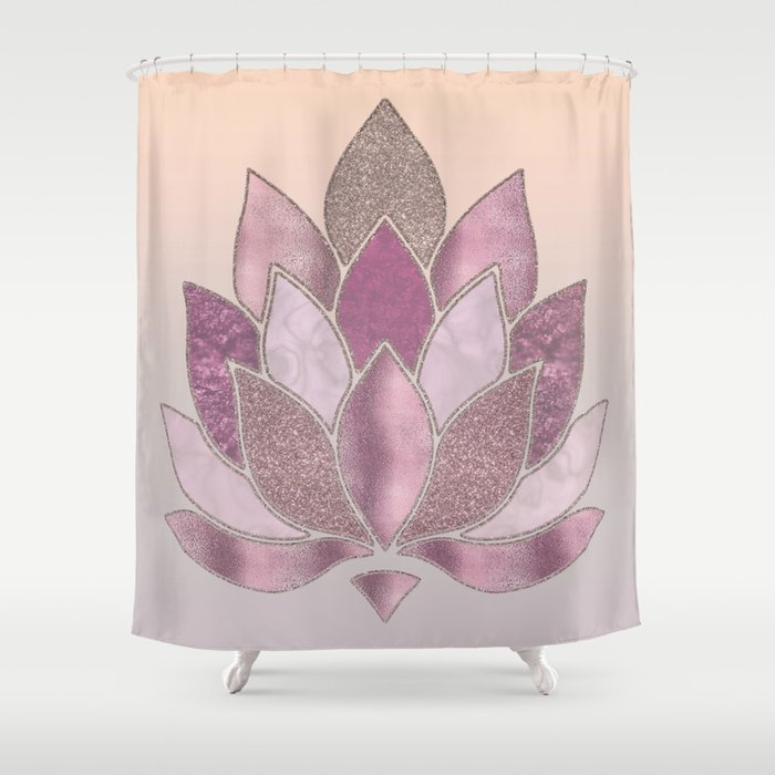 Elegant Glamorous Pink Rose Gold Lotus Flower Shower Curtain