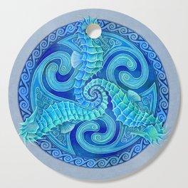 Seahorse Triskele Celtic Blue Spirals Mandala Cutting Board