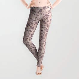 Ditsy Lilac Field of Petals on Pink,  Tiny Floral Pattern Leggings