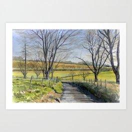Winter Landscape England, watercolour Art Print