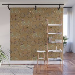 Holiday Bicycles on brown paper Wall Mural