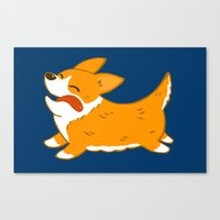 corgi Canvas Prints featuring Corgi!! by mecantdraw
