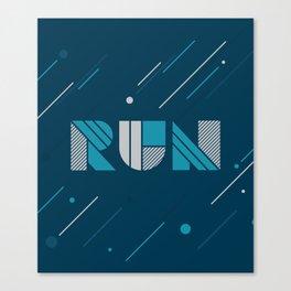 Run - Teal and Silver Geometric Type (Dark) Canvas Print