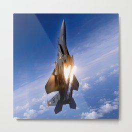 f-15 jet launching missile Metal Print