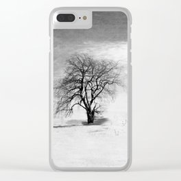 Black and White Tree in Winter Clear iPhone Case