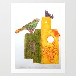 Bird and Cat Art Print