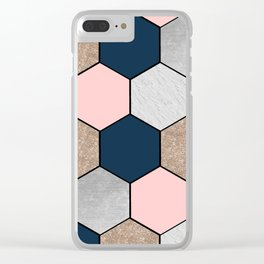 Navy and peach marble and foil hexagons Clear iPhone Case