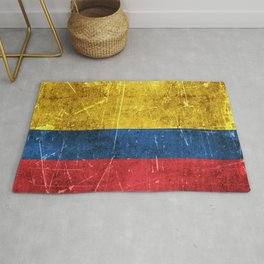 Vintage Aged and Scratched Colombian Flag Rug
