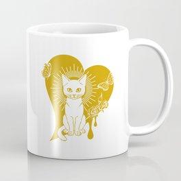 Cat and a dripping heart shape Coffee Mug