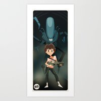 ripley Art Prints featuring Ripley by Alex Santaló