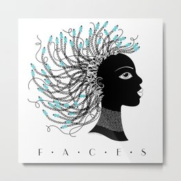 Faces • Girl with teal beads Metal Print