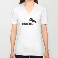 frenchie V-neck T-shirts featuring Frenchie by Mr. K