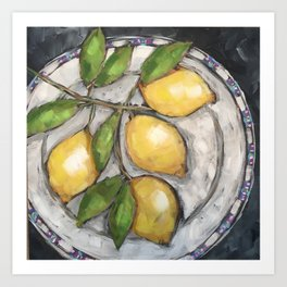 Lemons on a Wedgewood Plate Art Print
