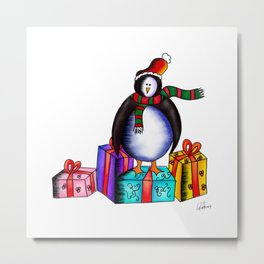 Christmas Presents with Eugene the Penguin  Metal Print