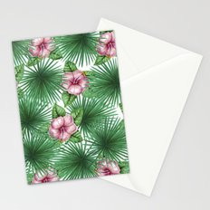 Jungle Love, Palm Leaves And Hibiscus White Stationery Cards