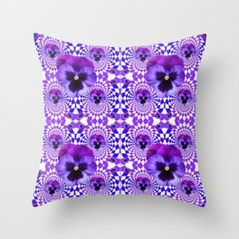 DECORATIVE OPTICAL PURPLE PANSIES GEOMETRIC ART Throw Pillow