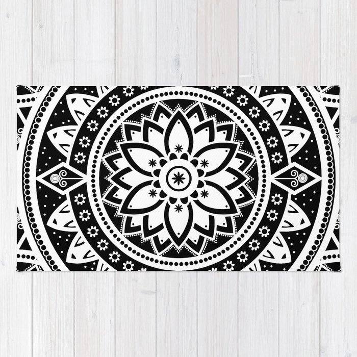 Black White Patterned Flower Mandala Rug By Inspiredimages Society6