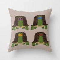 teenage mutant ninja turtles Throw Pillows featuring teenage mutant ninja turtles by C.t. Chain