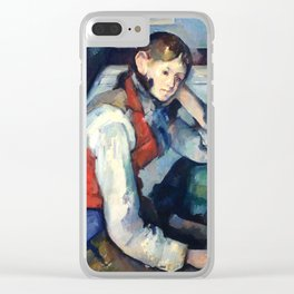 "Paul Cezanne ""Boy in a Red Vest"" Clear iPhone Case"