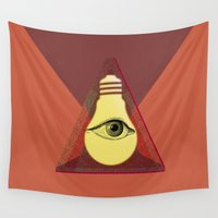"illuminati Wall Tapestries featuring ""Illuminati"" bulb by Oh! My darlink"