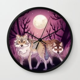 Full Moon - digital drawing of wolves in a forest at night Wall Clock