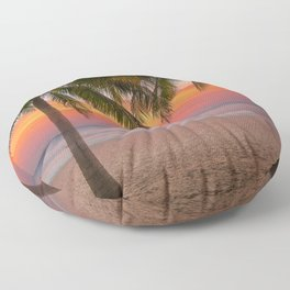 Tropical beach at sunset Floor Pillow