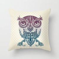 egyptian Throw Pillows featuring Baby Egyptian Owl by Rachel Caldwell