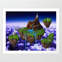 chrono trigger Art Prints featuring Floating Kingdom of ZEAL - Chrono Trigger by likelikes
