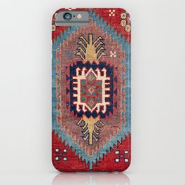 Tribal Honeycomb Palmette II // 19th Century Authentic Colorful Red Flower Accent Pattern iPhone Case