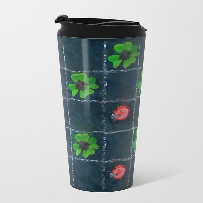 Clover and ladybugs tic-tac-toe pattern Metal Travel Mug