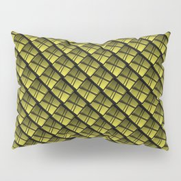 Interweaving square tile made of yellow rhombuses with dark gaps. Pillow Sham