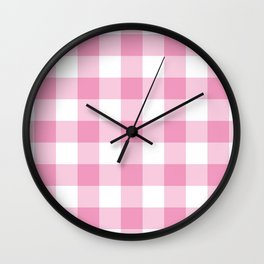 Light Pink Gingham Pattern Wall Clock
