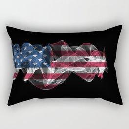 USA Smoke Flag on Black Background, USA flag Rectangular Pillow