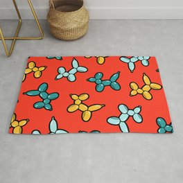 Balloon Animal Dogs Pattern in Red Rug