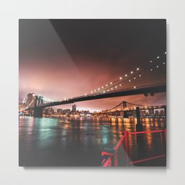 brooklyn bridge skyline in the night Metal Print
