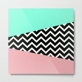 Pastel Chevron Tiffany Rose 80's Pattern Metal Print