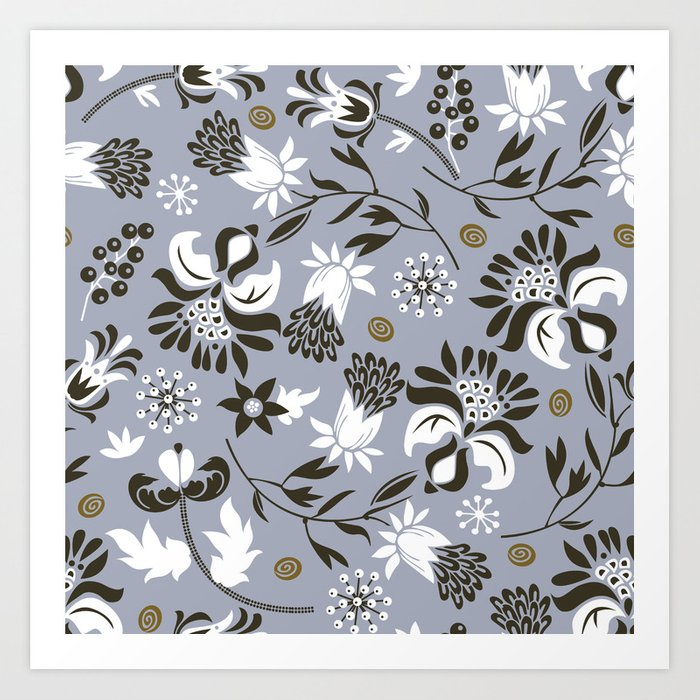 Victorian floral | slate gray Art Print