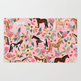 Horses floral horse breeds farm animal pets Rug