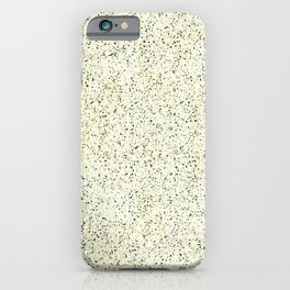Textured speckled pattern.Yellow, black speckles on light beige. iPhone Case