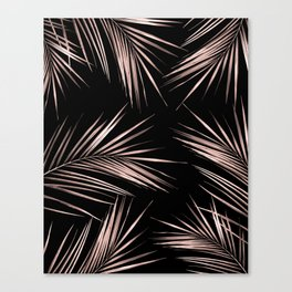 Rosegold Palm Tree Leaves on Midnight Black Canvas Print